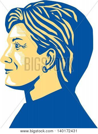 July 27, 2016: Illustration showing Democratic Party presidential candidate for president 2016 Hillary Clinton side view profile on isolated background.