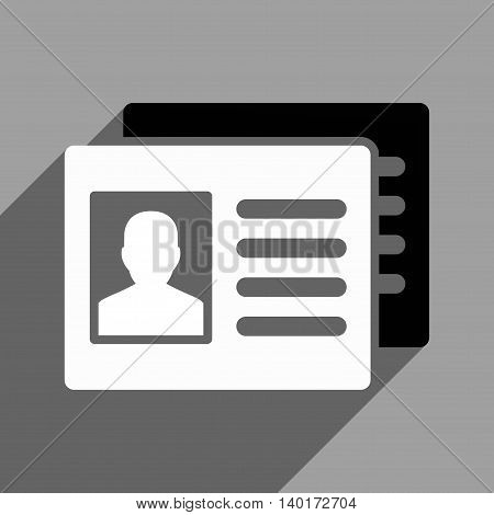 Patient Accounts long shadow vector icon. Style is a flat patient accounts black and white iconic symbol on a gray square background.