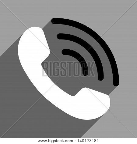 Phone Call long shadow vector icon. Style is a flat phone call black and white iconic symbol on a gray square background.