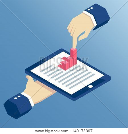 Isometric hands holding a tablet and touching a bar graph businessman using tablet for business task.