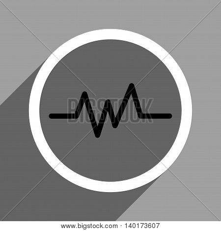 Pulse Monitoring long shadow vector icon. Style is a flat pulse monitoring black and white iconic symbol on a gray square background.