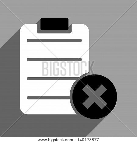 Reject Form long shadow vector icon. Style is a flat reject form black and white iconic symbol on a gray square background.