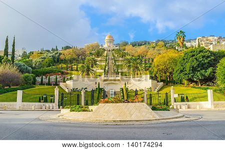 The UNESCO Square located at the foot of the Carmel Mount here starts the lower level of Bahai Gardens Haifa Israel.