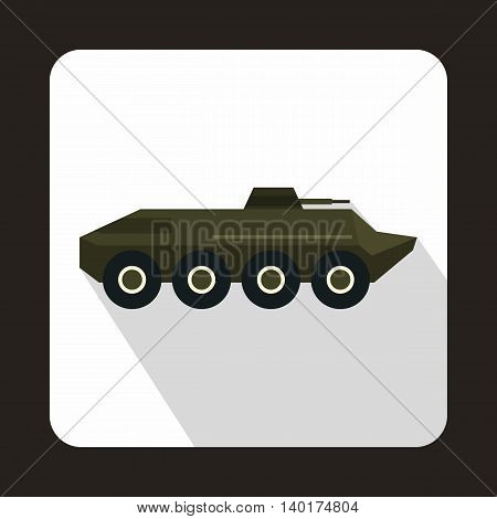 Armored troop-carrier icon in flat style with long shadow