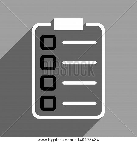 Test Form long shadow vector icon. Style is a flat test form black and white iconic symbol on a gray square background.