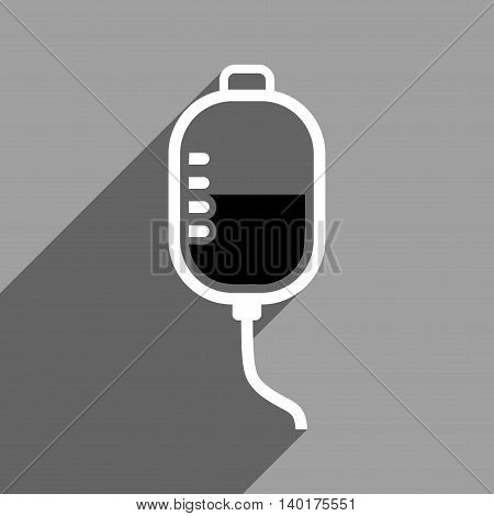 Therapy Dropper long shadow vector icon. Style is a flat therapy dropper black and white iconic symbol on a gray square background.