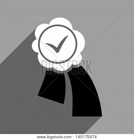 Validation Seal long shadow vector icon. Style is a flat validation seal black and white iconic symbol on a gray square background.