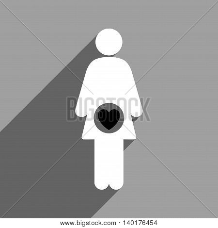 Fertility long shadow vector icon. Style is a flat fertility black and white iconic symbol on a gray square background.