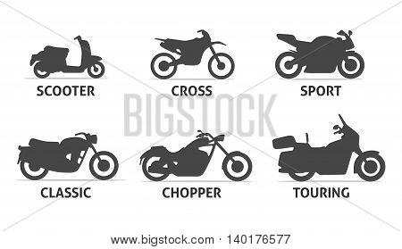 Motorcycle Type and Model icons Set. Vector black illustration isolated on white background with shadow. Variants for web.