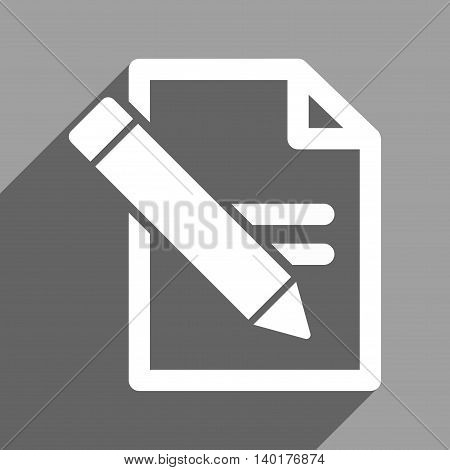 Edit Records long shadow vector icon. Style is a flat edit records white iconic symbol on a gray square background.