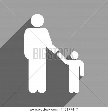 Father With Son long shadow vector icon. Style is a flat father with son white iconic symbol on a gray square background.