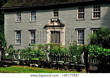 Stockbridge Massachusetts - September 16 2014: 1742 Mission House built by Rev. John Sergeant a minister who came to convert the Mohican Indians to Christianity