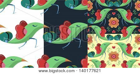 Birds Pattern in four options - Birds running and birds kissing on different background