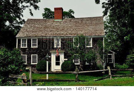 East Sandwich Massachusetts - July 15 2015: 1678 timber frame shingled Benjamin Nye Homestead and Museum on Cape Cod