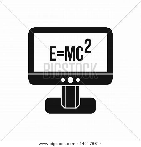 Monitor with Einstein formula icon in simple style isolated on white background. Science symbol