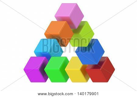 Impossible colored triangle optical illusion 3D rendering isolated on white background