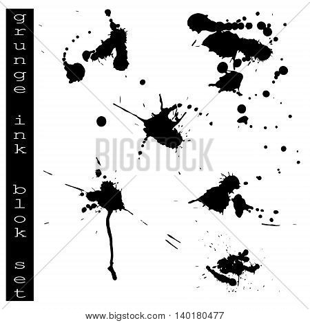 Collection of various ink splatter.Set of black blots on the white background. Ink stains.