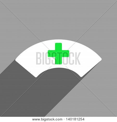 Medical Visor long shadow vector icon. Style is a flat medical visor white iconic symbol on a gray square background.