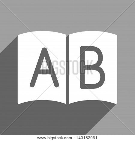 Open Handbook long shadow vector icon. Style is a flat open handbook white iconic symbol on a gray square background.