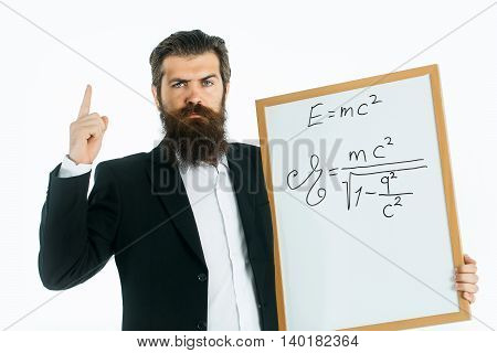 Bearded Man With Einstein Formula And Newtons Law
