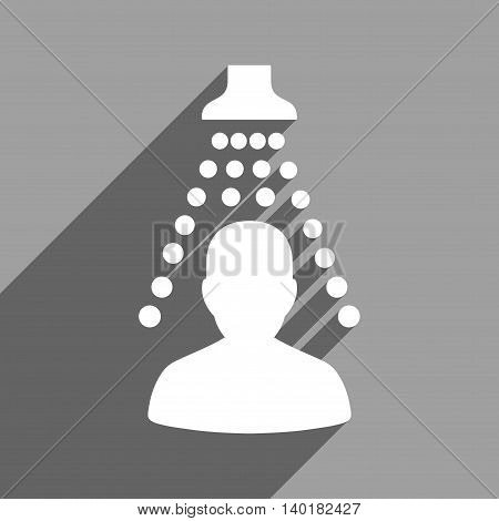 Patient Disinfection long shadow vector icon. Style is a flat patient disinfection white iconic symbol on a gray square background.