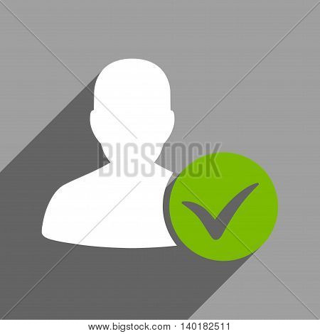 Patient Ok long shadow vector icon. Style is a flat patient ok white iconic symbol on a gray square background.
