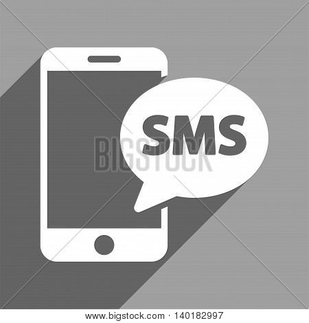 Phone SMS long shadow vector icon. Style is a flat phone sms white iconic symbol on a gray square background.