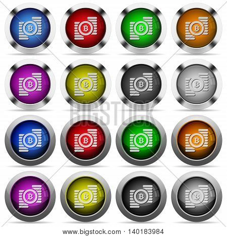 Set of Bitcoins glossy web buttons. Arranged layer structure.