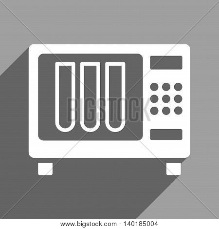 Sterilizer long shadow vector icon. Style is a flat sterilizer white iconic symbol on a gray square background.