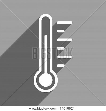 Temperature Level long shadow vector icon. Style is a flat temperature level white iconic symbol on a gray square background.
