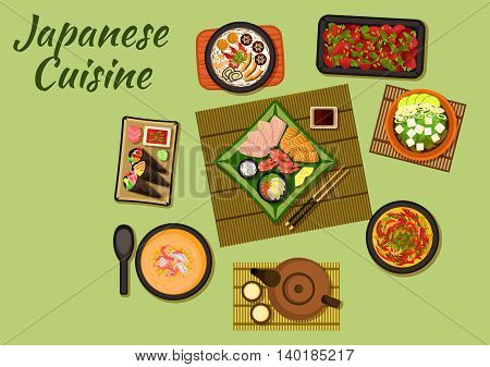 Japanese cuisine dishes with temaki sushi and sashimi served with various of sauces, udon noodle soup with seafood, nabe stew with smoked eel, chicken cream soup, tofu suimono soup, chicken liver and tea set. Flat style