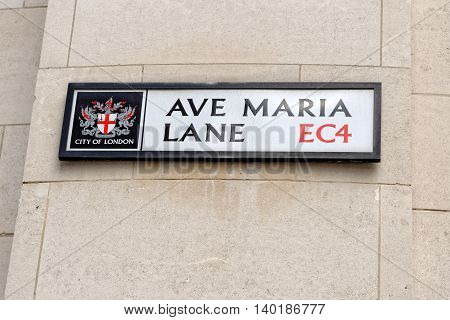 A street sign of Ave Maria Lane near St. Paul Cathedral in London UK.