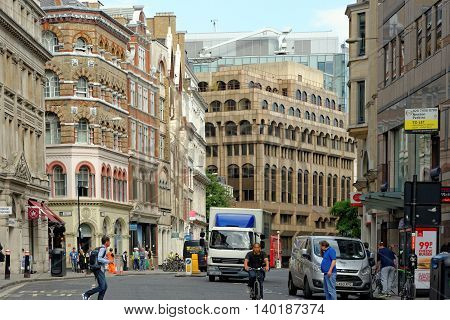 LONDON UK - JULY 1 2014: Eastcheap London. A street in central London which used to be the main meat market in London in medieval times.