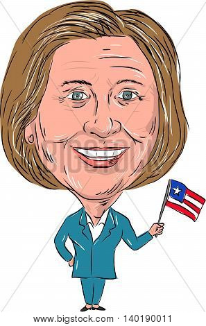 July 27, 2016: Caricature illustration of Democrat president candidate Hillary Clinton waving a US flag facing front on isolated background.