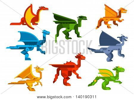 Flying dragons cartoon flat reptiles with membranous wings and spiny crest on head and neck. Nature, history, t-shirt or child book design