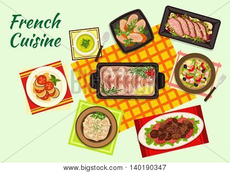 Fine cuisine of France with ratatouille stew, duck salad, pea cream soup, tuna salad nicoise, fried chicken liver, baked cod in bechamel sauce, chicken supreme and veal kidney fricassee