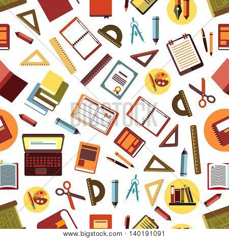 School and office supplies seamless pattern on white background with flat pens, pencils, rulers, books, laptops, diaries, clipboards, art palettes with paintbrushes, scissors, compasses and diplomas