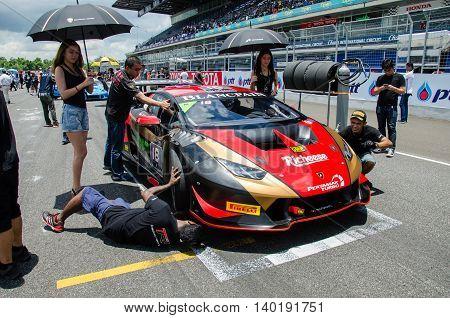 BURIRAM - THAILAND 24 : Lamborghini Super Trofeo Asia on display Buriram Super Race 2016 at Chang International Racing Circuit on July 24 2016 Buriram Thailand.