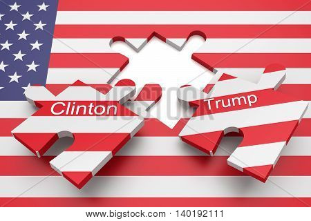 BERLIN GERMANY - JULY 27 2016: US election: Missing puzzle pieces with the names of the presidential candidates Clinton and Trump with US flag 3d illustration