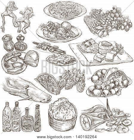 FOOD menu.Cuisine. Cooking. Dish. Collection of an hand drawing illustrations. Pack of full sized hand drawn illustrations. Set of freehand sketches. Line art technique. Drawing on white background.