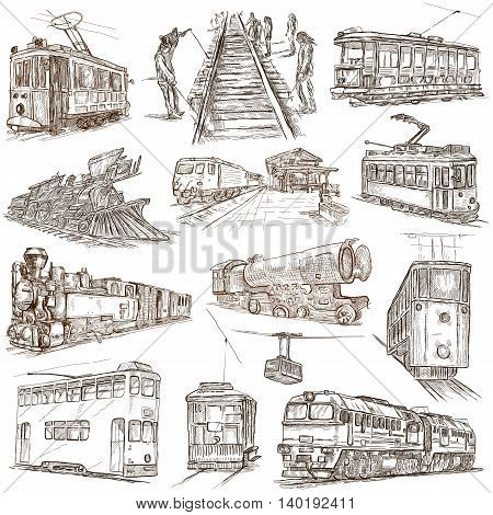On rails. Train and tram.Transport. Collection of an hand drawing illustrations. Pack of full sized hand drawn illustrations. Set of freehand sketches. Line art technique. Drawing on white background.