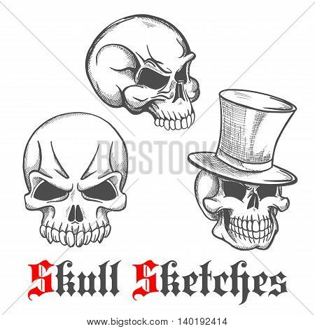 Spooky halloween skulls engraving sketches of gentleman skull in vintage top hat and monsters skeletons with sharp teeth. Use as tattoo, halloween mascot or t-shirt print design poster