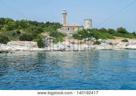 The Remains Of The Traditional Old Lighthouse In Greece Ionian Sea