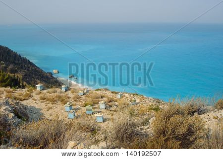 Beehives On Lefkada Island In Greece Ionian Turquoise Sea In The Background