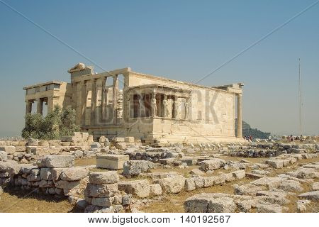 Famous Ancient Porch Of The Caryatids At The Temple Of Erechtheion Overlooking Athens Greece