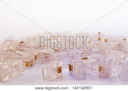 Group Of Telephone Connectors On White Background
