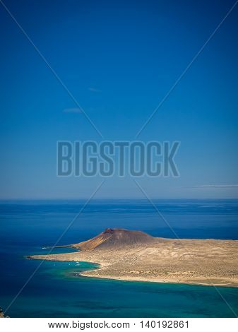 View of the La Graciosa, Allegranza and Montana Clara islands as seen from the Mirador del Rio, Lanzarote, Canary Islands, Spain