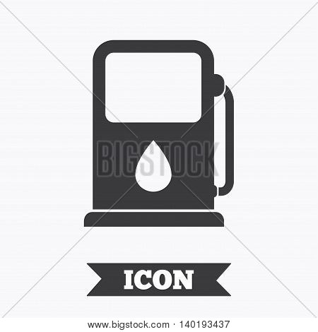 Petrol or Gas station sign icon. Car fuel symbol. Graphic design element. Flat petrol station symbol on white background. Vector