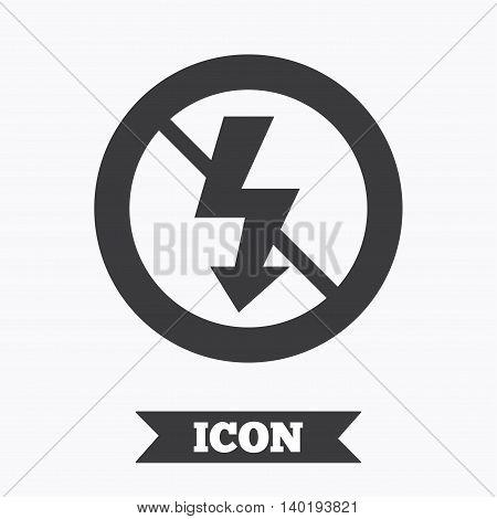 No Photo flash sign icon. Lightning symbol. Graphic design element. Flat no photo flash symbol on white background. Vector