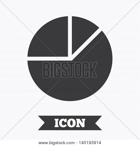 Pie chart graph sign icon. Diagram button. Graphic design element. Flat pie chart symbol on white background. Vector